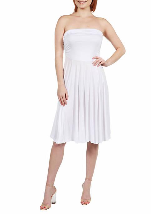 24seven Comfort Apparel Pleated Strapless Summer Dress