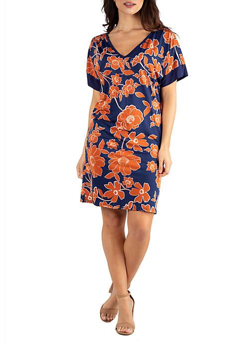 V Neck Loose Floral Fit Resort Dress