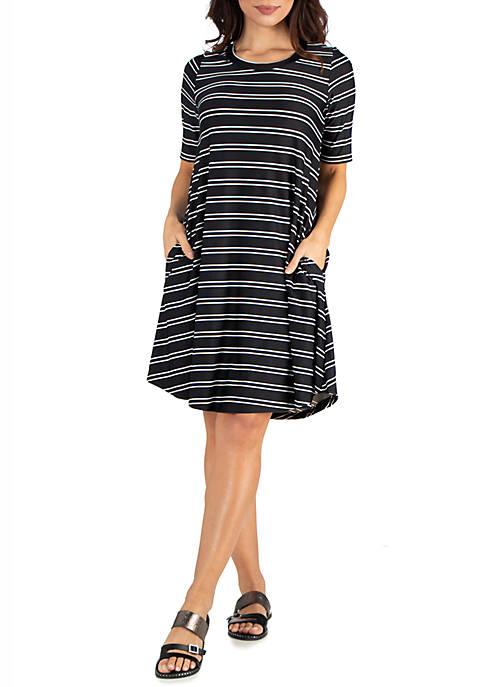 Knee Length Striped Pocket T Shirt Dress