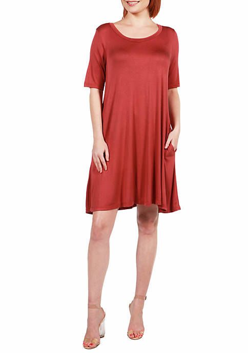24seven Comfort Apparel Knee Length Pocket T Shirt