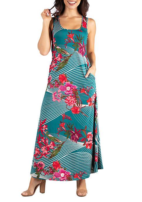 Floral Sleeveless Tank Maxi Dress with Pockets