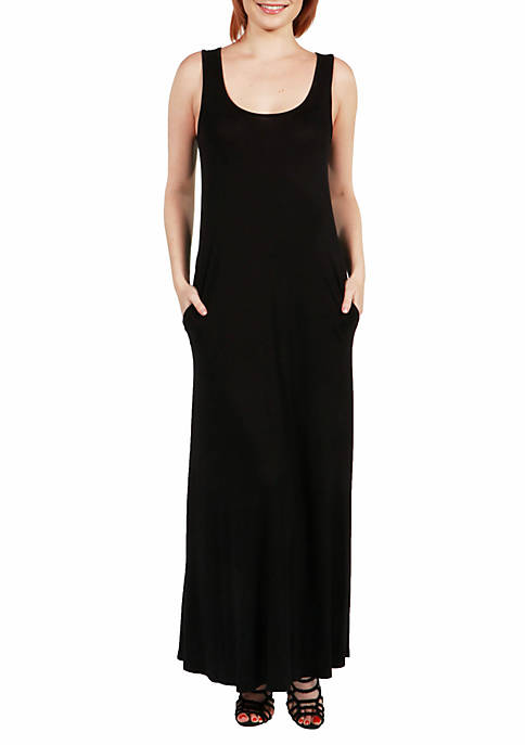 24seven Comfort Apparel Sleeveless Tank Maxi Dress with