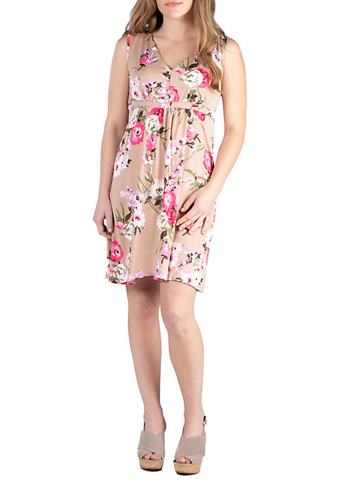 24seven Comfort Apparel Floral Empire Waist Sleeveless Party