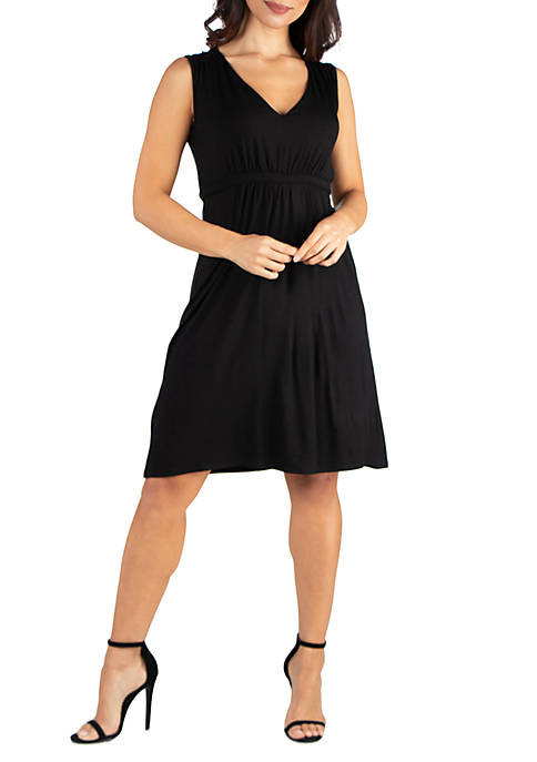 24seven Comfort Apparel Empire Waist Sleeveless Party Dress