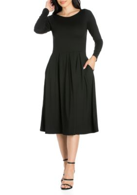 24Seven Comfort Apparel Womens Long Sleeve Fit And Flare Midi Dress