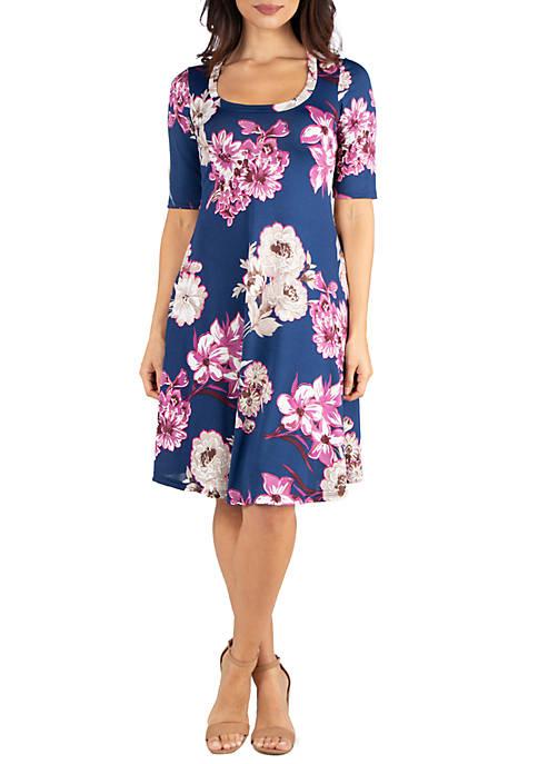 24seven Comfort Apparel Navy Floral Elbow Sleeve Knee