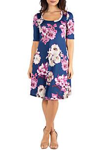 24seven Comfort Apparel Navy Floral Elbow Sleeve Knee Length Dress