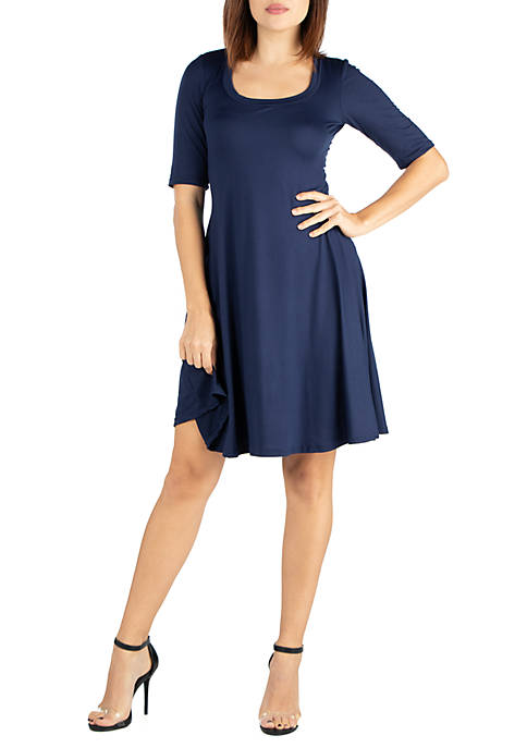 24seven Comfort Apparel Elbow Sleeve Knee Length Dress