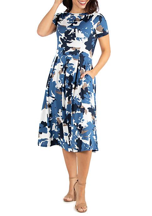 24seven Comfort Apparel Blue Print Short Sleeve Midi