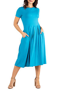 24seven Comfort Apparel Short Sleeve Midi Skater Dress With Pockets