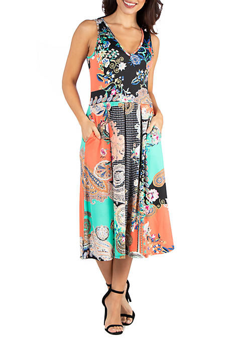 24seven Comfort Apparel Floral Print Midi Fit and