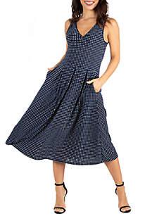 24seven Comfort Apparel Plus Size Navy Polka Dot Midi Fit and Flare Pocket Dress