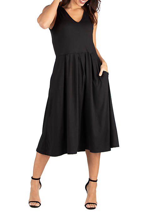 24seven Comfort Apparel Sleeveless Midi Fit and Flare