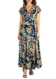 24seven Comfort Apparel Paisley Print Empire Waist V Neck Maxi Dress