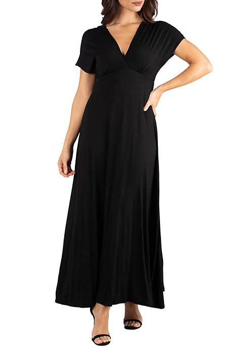 24seven Comfort Apparel Empire Waist V Neck Maxi