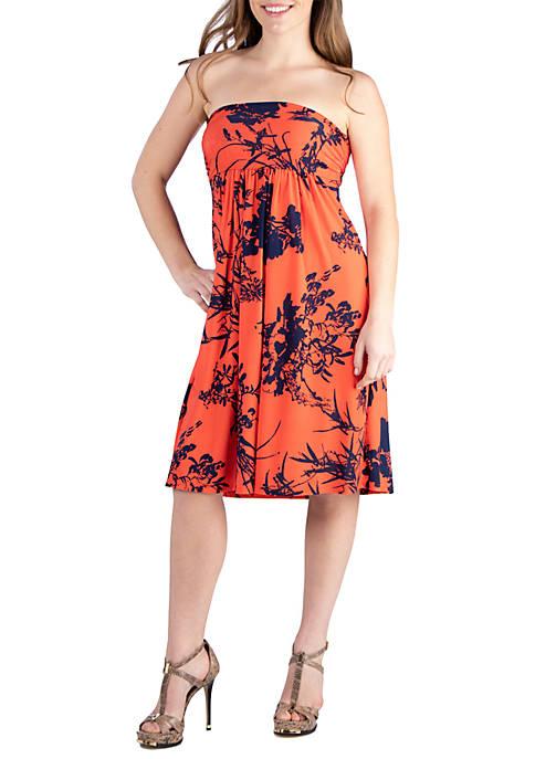 24seven Comfort Apparel Orange Floral Print Strapless Mini
