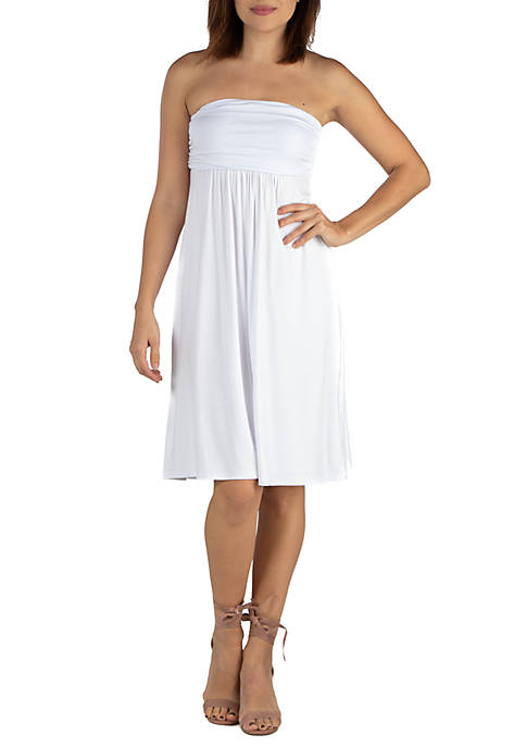 24seven Comfort Apparel Knee Length Strapless Mini Dress