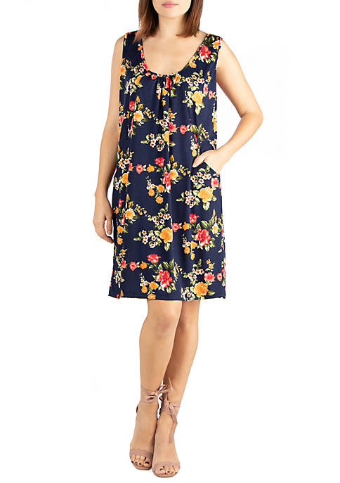 24seven Comfort Apparel Floral Sleeveless Mini Dress With