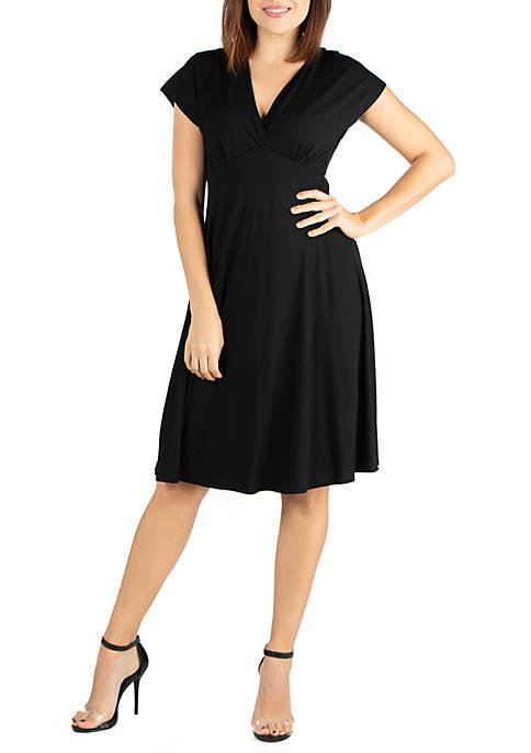 Short Sleeve Empire Waist Knee Length Dress