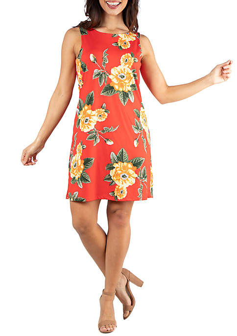 24seven Comfort Apparel Floral Sleeveless Shift Dress