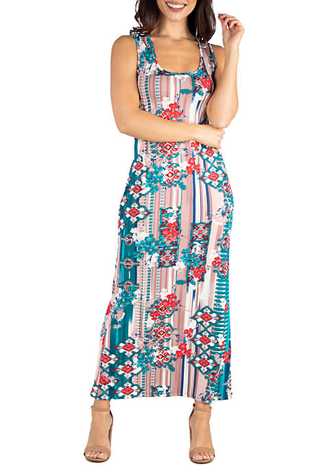 24seven Comfort Apparel Multi Color Floral Racerback Maxi