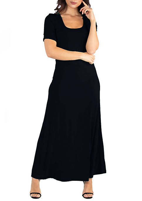24seven Comfort Apparel Elbow Length Sleeve Maxi Dress