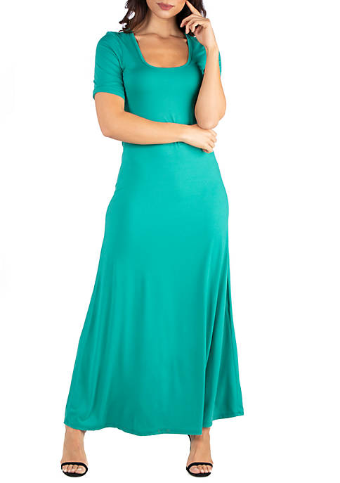 24seven Comfort Apparel Elbow Length Sleeve Maxi Dress