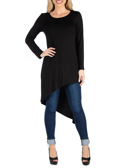 Womens Full Length Long Sleeve Asymmetric Hem Top