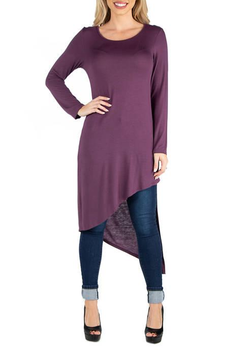 Womens Full Length Long Sleeve Asymmetric Hem Top