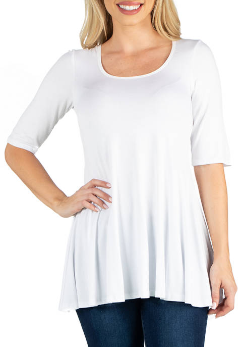 24seven Comfort Apparel Womens Elbow Sleeve Swing Tunic