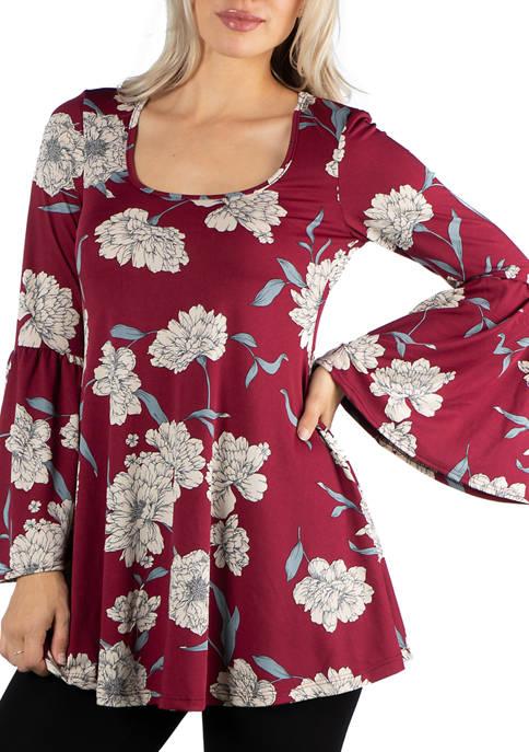 24seven Comfort Apparel Womens Scoop Neck Bell Sleeve