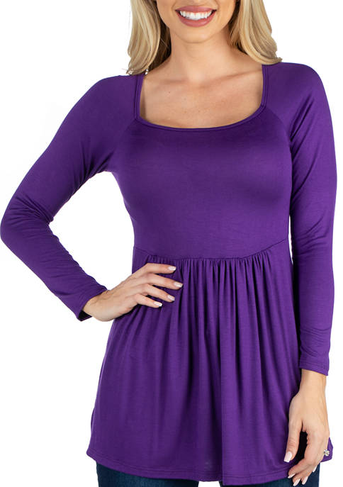 24seven Comfort Apparel Womens Long Sleeve Square Neck