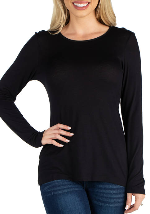 24seven Comfort Apparel Womens Long Sleeve Solid Color
