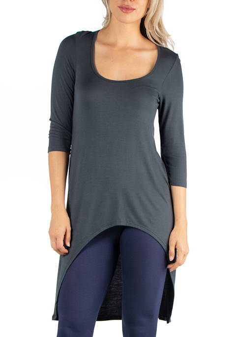 24seven Comfort Apparel Womens Long Sleeve High Low