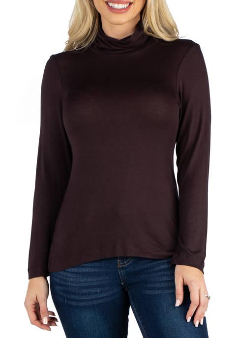 24seven Comfort Apparel Womens Long Sleeve Turtleneck Shirt