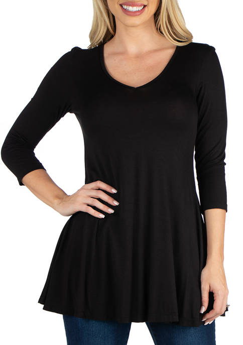 24seven Comfort Apparel Womens V-Neck Swing Tunic Top