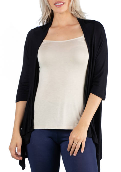 24seven Comfort Apparel Womens Elbow Length Sleeve Open