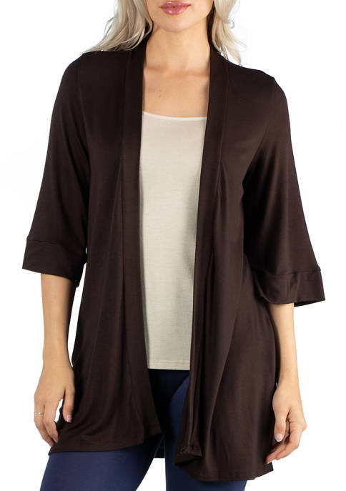 Womens Open Front Elbow Length Sleeve Cardigan