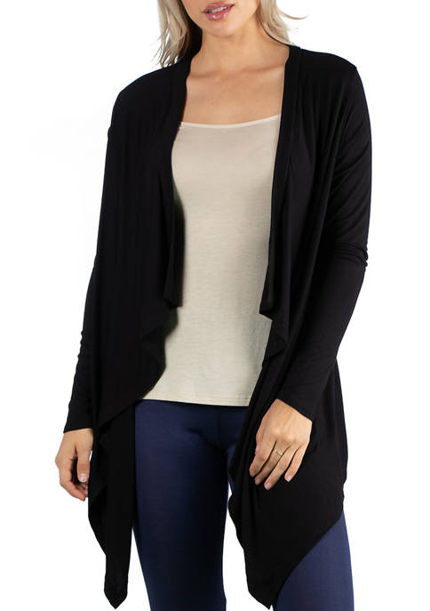 Womens Classic Black Long Sleeve Open Cardigan