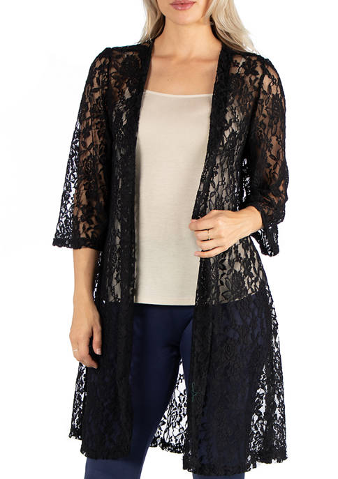 Womens Sheer Lace Open Front Cardigan
