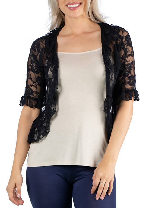 24seven Comfort Apparel Womens Sheer Lace Open Front