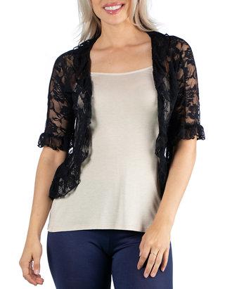 Women's Sheer Lace Open Front Shrug