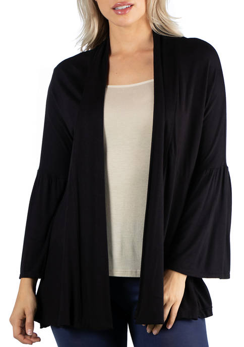 Womens Long Bell Sleeve Open Front Cardigan