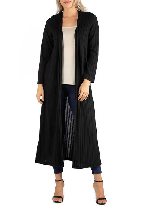 24seven Comfort Apparel Womens Long Open Front Maxi