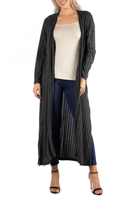 24seven Comfort Apparel Womens Long Open Front Maxi