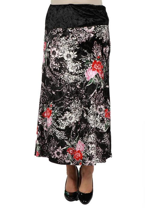 24seven Comfort Apparel Womens Floral Print Velvet Maxi