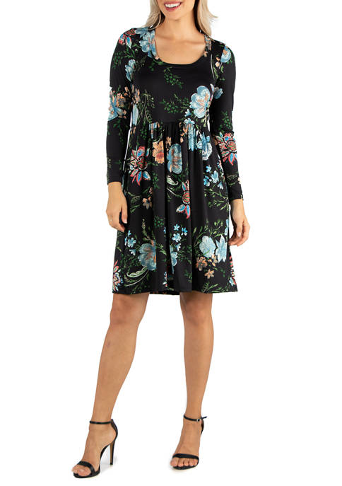 24seven Comfort Apparel Womens Floral Knee Length Pleated