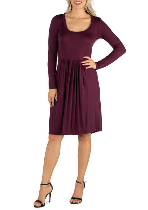 24seven Comfort Apparel Womens Knee Length Pleated Long