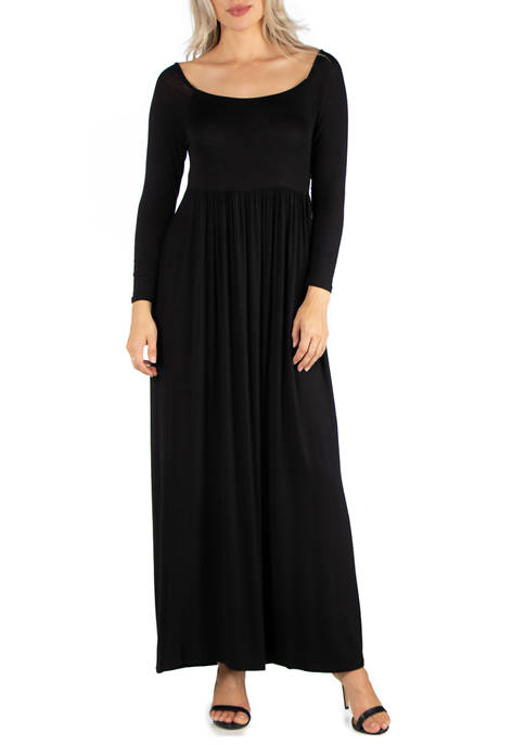 24seven Comfort Apparel Womens Long Sleeve Pleated Maxi
