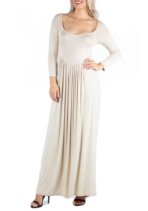 Womens Long Sleeve Pleated Maxi Dress